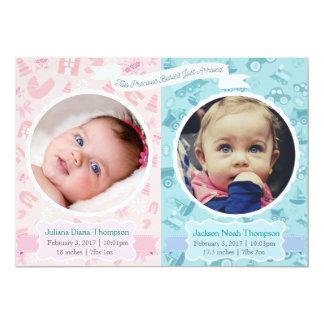 Invitación gemela del nacimiento del chica y del
