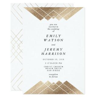 Invitación geométrica del boda de Gatsby del oro
