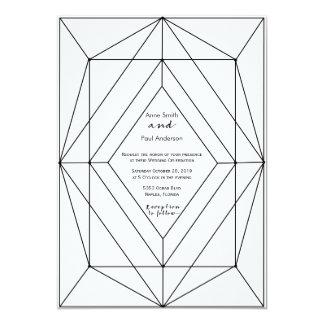 Invitación geométrica negra y blanca del boda