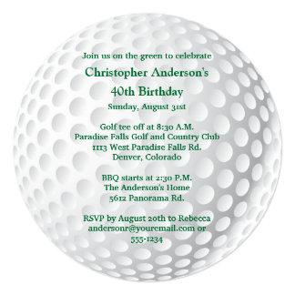 Invitación Golfing del cumpleaños de los hombres Invitación 13,3 Cm X 13,3cm