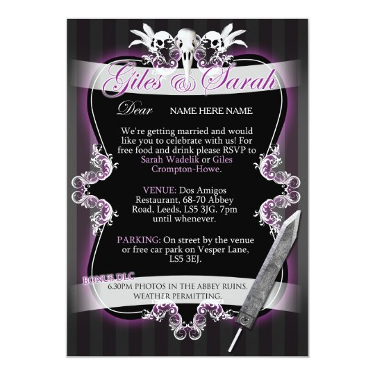 Invitación gótica del boda - Comisión