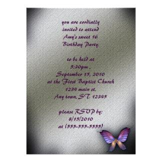 Invitación gótica del cumpleaños de la mariposa de