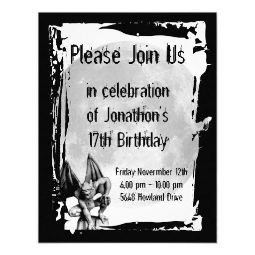 Invitación gótica del cumpleaños del Gargoyle y de