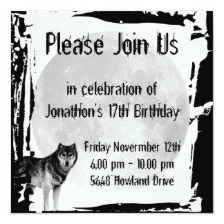 Invitación gótica del cumpleaños del lobo y de la invitación 13,3 cm x 13,3cm