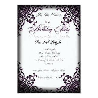 Invitación gótica negra y púrpura del cumpleaños invitación 12,7 x 17,8 cm