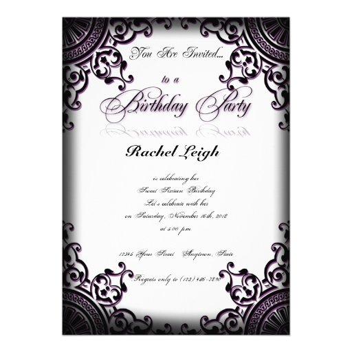 Invitación gótica negra y púrpura del cumpleaños d