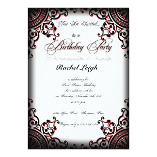 Invitación gótica negra y roja del cumpleaños de invitación 12,7 x 17,8 cm