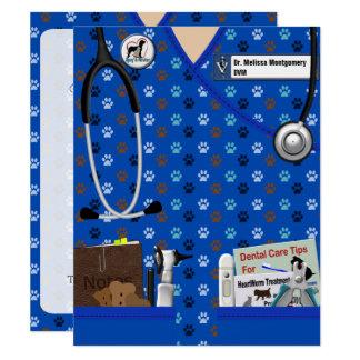 Invitación graduada del veterinario en azul del