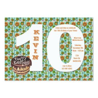 Invitación grande de la fiesta de cumpleaños 10