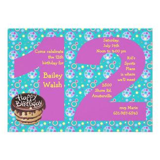 Invitación grande de la fiesta de cumpleaños 12