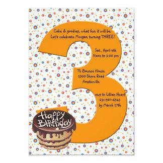 Invitación grande de la fiesta de cumpleaños 3 invitación 12,7 x 17,8 cm