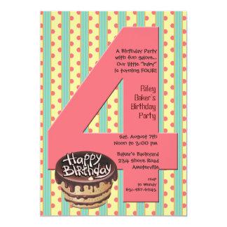 Invitación grande de la fiesta de cumpleaños 4 invitación 12,7 x 17,8 cm