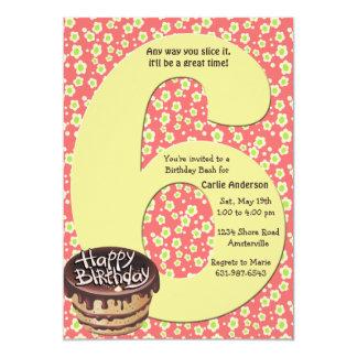 Invitación grande de la fiesta de cumpleaños 6 invitación 12,7 x 17,8 cm