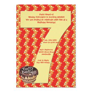 Invitación grande de la fiesta de cumpleaños 7 invitación 12,7 x 17,8 cm