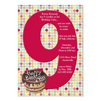 Invitación grande de la fiesta de cumpleaños 9