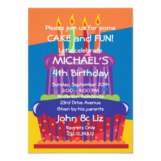 Invitación grande de la torta del cumpleaños de