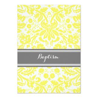 Invitación gris amarilla del bautismo del damasco invitación 12,7 x 17,8 cm