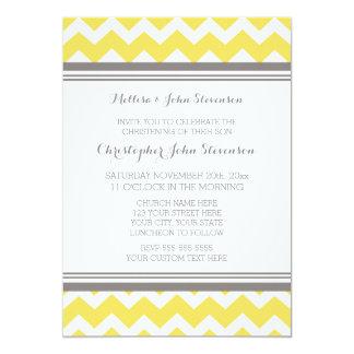 Invitación gris amarilla del bautizo de Chevron Invitación 12,7 X 17,8 Cm