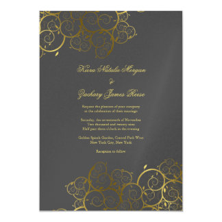 Invitación gris con clase del boda de la vid de