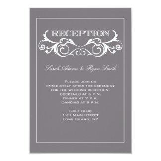 Invitación gris de la recepción del remolino del