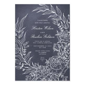 Invitación gris del boda de la guirnalda romántica