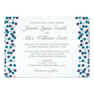 Invitación gris del boda del lunar de la marina de