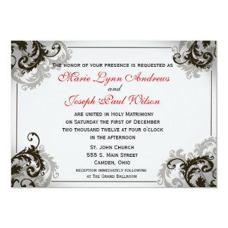 Invitación gris, negra, y blanca del boda del