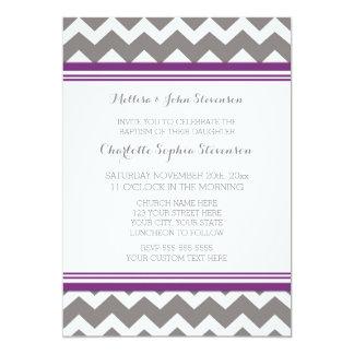 Invitación gris púrpura del bautismo de Chevron Invitación 12,7 X 17,8 Cm