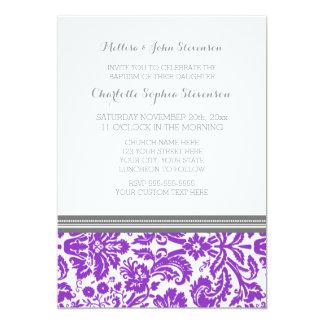 Invitación gris púrpura del bautismo del damasco invitación 12,7 x 17,8 cm