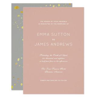 Invitación gris rosada moderna simple del boda del