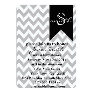 Invitación gris y negra de la fiesta de bienvenida
