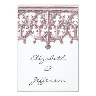 Invitación gris y rosada RSVP del boda de la