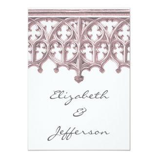 Invitación gris y rosada RSVP del boda de la Invitación 12,7 X 17,8 Cm