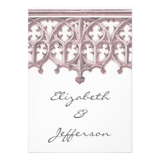 Invitación gris y rosada RSVP del boda de la cated