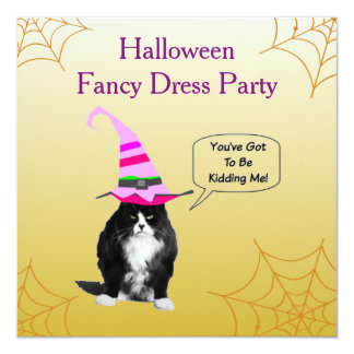 Invitación gruñona divertida de Halloween del gato