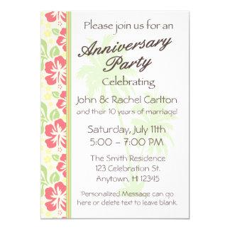 Invitación hawaiana de la fiesta de aniversario