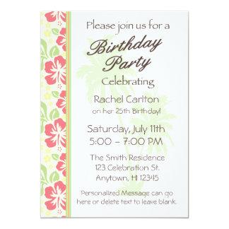 Invitación hawaiana de la fiesta de cumpleaños de invitación 12,7 x 17,8 cm