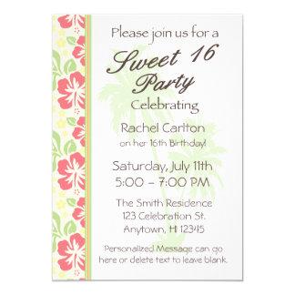 Invitación hawaiana de la fiesta de cumpleaños del