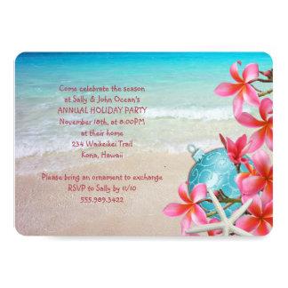 Invitación hawaiana de la fiesta de Navidad