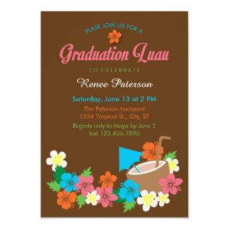 Invitación hawaiana de la graduación de Luau del Invitación 12,7 X 17,8 Cm