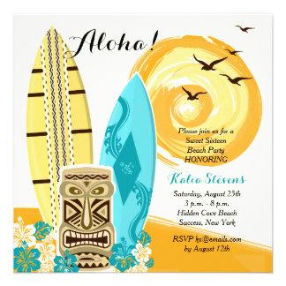Invitación hawaiana de las tablas hawaianas de