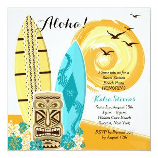 Invitación hawaiana de las tablas hawaianas de invitación 13,3 cm x 13,3cm