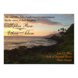 Invitación hawaiana del boda de la puesta del sol