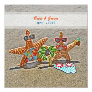 Invitación hawaiana del boda de los pares de las invitación 13,3 cm x 13,3cm