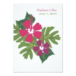 Invitación hawaiana del boda del rosa del hibisco