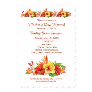 Invitación hawaiana del brunch del hibisco del día