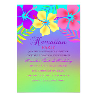 Invitación hawaiana del cumpleaños de la flor del