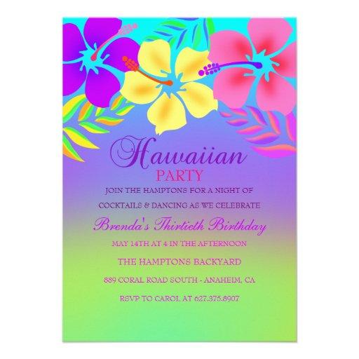 Invitación hawaiana del cumpleaños de la flor del