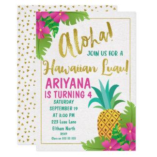 Invitación hawaiana del cumpleaños de Luau