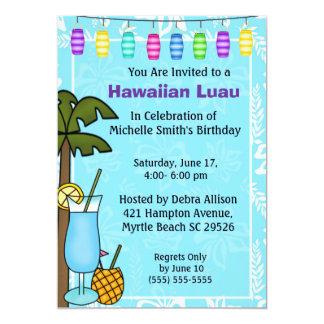 Invitación hawaiana del cumpleaños de Luau Invitación 12,7 X 17,8 Cm